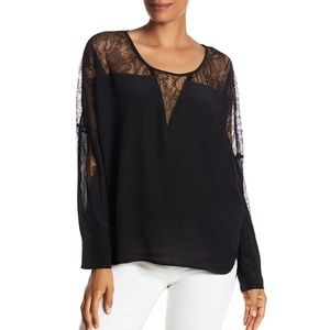 {Gold Hawk} Silk Lace Inset Wedge Blouse